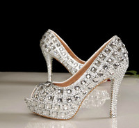 Wholesale Peep Toe Crystal High Heel Wedding Shoes Silver Bridal Dress Shoes Woman Nightclub Party Banquet Dress Shoes