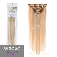 Wholesale Emosa Luxury Clip in Human Hair Extensions Natural Straight Brazilian Hair Soft Hair Wigs