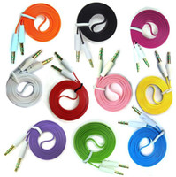 Wholesale 3ft m mm Male to Male Stereo Audio AUX Flat Noodle Cable Cord colors