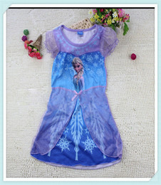 Wholesale 2014 Elsa dress New Summer Anna dresses Frozen Princess girl clothes night gown sizes color for choice