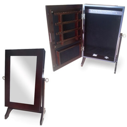 Wholesale Wall Mount Desk Top Mirror Jewelry Cabinet Armoire Jewelry Box Organizer Ring Storage Mirror Furniture USA