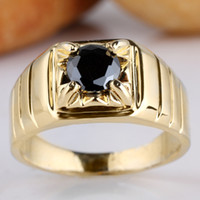 Wholesale Men s Gold Plated Real Sterling Silver Ring Black Onyx Round Size R113