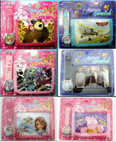 Children's batteries movie - 30set Mix Order Assorted Kids Teens Cartoon Quartz WristWatch Wallet Sets Frozen Bear Superheros Princess Sofia Children Movie Watches Purse