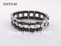 Wholesale new man bracelet Chain Stainless Steel charm bracelets amp bangles Fashion Black Rubber for men jewelry