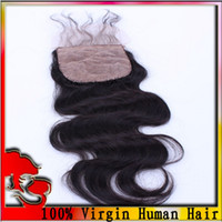 Brazilian Hair Natural Color Body Wave Free Shipping !Silk Base Closure Brazilian Hair, Body Wave,Free Part ,Bleached Knots ,3.5*4 Silk Lace Closure And Lace Closure