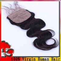 Brazilian Hair Natural Color Body Wave Free Shipping Brazilian Virgin Hair Silk Base Closure, Body Wave,Free Part ,Bleached Knots ,3.5*4 Lace Closure And Silk Base Closure