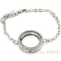 Trendy Women Fashion 5PCS !! 30mm Silver Round magnetic glass floating locket bracelet Wholesale Fashion Bracelets & Bangles