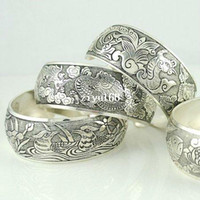 Wholesale Elegant Tibetan Patterned Silver Cuff Bracelets Retro Bangles Drop shipping