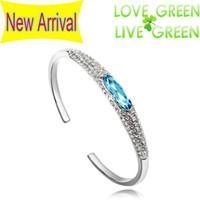 Wholesale 2014 K Platinum plated Austria Crystal Angel Eye slippers Cuff Bangle Bracelet Fashion Jewelry
