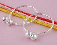 Wholesale Wholesale10pcs sterling silver lovely baby s double bell bangle bracelet