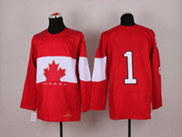 Ice Hockey Men Full 2014 Winter Olympic Ice Hockey Jerseys Mens #1 Luongo Sportswear Red Color SZ:48-56 able mix any size