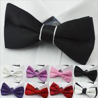 Bow Tie woven tie - 2014 Men s Bow Ties Solid Color Plain Satin Skinny Ties Groom Necktie Silk Jacquard Woven Tie In Stock