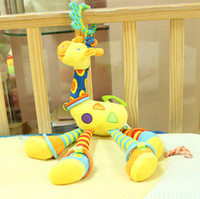 Wholesale ELC infant toy rattles ultra long lovely giraffe hanging baby stuffed animals plush rattle bed bells toys