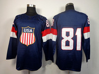 Ice Hockey Men Full 2014 Olympic USA Ice Hockey Jerseys United States #81 Kessel Sportswear Blue Color SZ:48-56 able mix any size