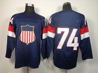 Ice Hockey Men Full 2014 Olympic USA Ice Hockey Jerseys United States #74 OSHIE Sportswear Blue Color SZ:48-56 able mix any size