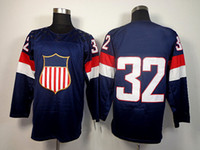 Cheap 2014 Olympic USA Ice Hockey Jerseys United States #32 Quick Sportswear Blue Color SZ:48-56 able mix any size