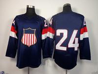 Ice Hockey Men Full 2014 Olympic USA Ice Hockey Jerseys United States #24 Callahan Sportswear Blue Color SZ:48-56 able mix any size