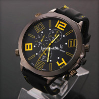 Men's Round 25 2pcs lot Fashion V6 Sports Watches Military Watch Oversized Number Dial Black Rubber Band Quartz watch Casual watches LRY09