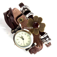 Wholesale 100 Vintage Style Lady Women Genuine Leather Strap Button Clasp Dress Watches for Christmas Gift Bracelet Wa