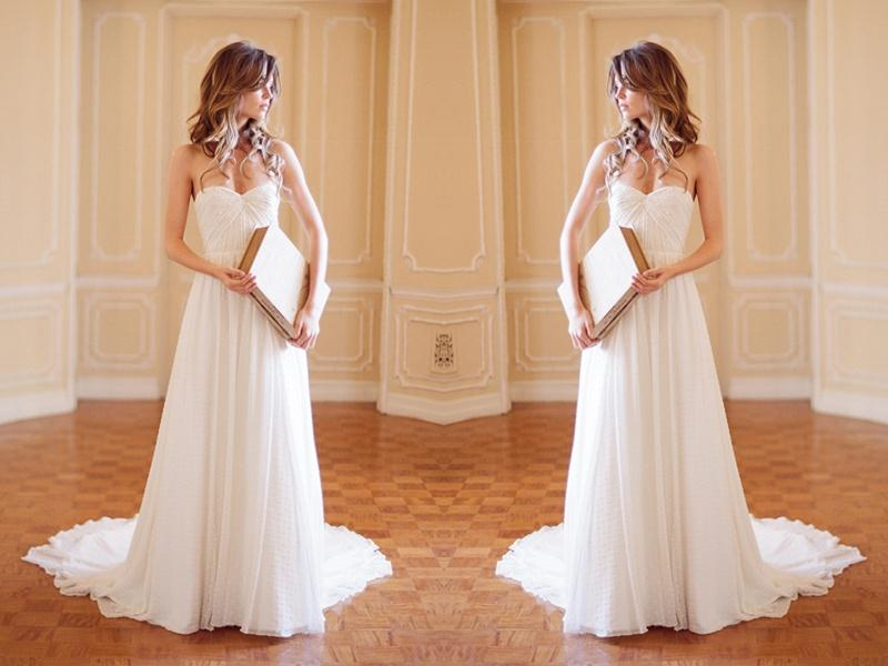 Buy Cheap White 2016 Beach Wedding Dresses Ruffle Line Sweetheart Neck Zip Back Sweep Train Chiffon Long Bridal Gowns Prom Bridesmaid