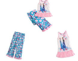 Wholesale 8 off DROP SHIPPING Kids sleep wear Children s pattern pajamas T shirt pants suit frozen elsa Anna hot sale high quality suit OY