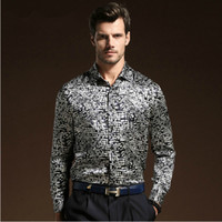 Casual Men Silk High-end Business Casual Men's Clothing Spring and Autumn Long Sleeve short sleeve Silk Shirt Free Shipping