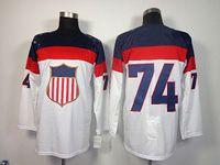 Ice Hockey Men Full 2014 Winter Olympic USA Ice Hockey Jerseys #74 OSHIE United States Sportswear White Color SZ:48-56 able mix any size