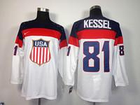 Ice Hockey Men Full 2014 Winter Olympic USA Ice Hockey Jerseys #81 KESSEL United States Sportswear White Color SZ:48-56 able mix any size