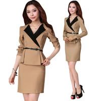 Women Cotton Skirt Suits shirt High Quality women's office wear two piece skirt suits tops long Sleeve formal business Khaki Black Skirt Suit uniform J1170