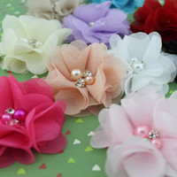 "flower head, flat back Lace Floral 2"" Beaded chiffon flower pearl Rhinestone fabric flower Handmade flower for Baby & Kids hair band or clips flat back 40pcs lot"