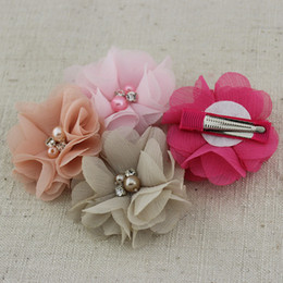 Wholesale quot chiffon flower hairclips Handmade fabric pearl Rhinestone flower Hair Accessories10 colour Baby hairpin