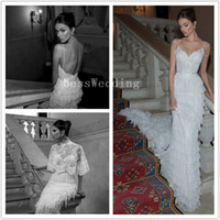 Wholesale 2014 New Spaghetti Strap Slim Tiered Berta Mermaid Wedding Dresses Lace Court Train Backless Beading Summer Garden Bridal Gowns For Discount
