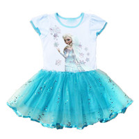 Wholesale Frozen Elsa Blue Tulle Lace Princess Dresses Baby girls Summer Pageant Party dress of kids clothing
