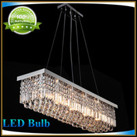 Wholesale Rectangular Crystal Chandelier Dining Room Length cmLED Cyrstal Pendant Light Ceiling Lamp Chandiliers Lighting Original