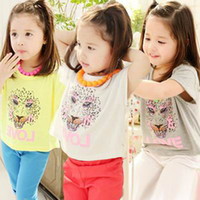 Wholesale Myfashion Girl T shirts Leopard Head Comfortable Cotton Short Sleeve Summer T shirts