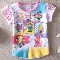 Girl Summer Standard 2014 New Arrival Summer Children Girls Short Sleeve Cotton Cute geometry Carton Knot Tees Blouse Tops Kids' Clothes 5ps lot 62005