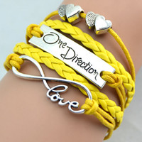 achat en gros de coeur fait à la main-One Direction Bracelets Fashion Hand Bangles One Direction Love Double Hearts Style 12 couleurs Charmante Bijouterie faite main Bijoux Love Bracelets