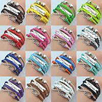 Wholesale Infinity Bracelets Weave Leather Bracelet One Direction Love Double Hearts Style Colors Charming Women Love Bracelets Drop
