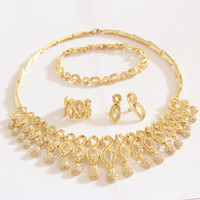 Wholesale 2014 NEW Paris amp Retail top quality Dubai African Mysterious Charming k Gold Plated crystal Necklace Jewelry Sets AL316