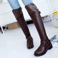 Wholesale 2014 New design Sexy Elegant Fashion Casual Women s Riding Equestrian Rivets Solid Black Brown boots EUR Size QL4188