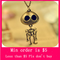 Pendant Necklaces amazing order - Min Order Mix Jewelry order Design Retro Style Fashion Amazing Skeleton Robot Pendant Necklace N0119
