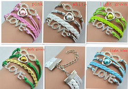 Cheap Fashion Weave Bracelet Hand Weave Leather Bracelet Diamond Love Heart Style Bracelet 5 Colors Love Charming Women Bracelet 20pcs