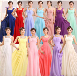Wholesale 2015 Sexy bridesmaid dresses a line straps draped zipper chiffon long maxi prom party gown cheap under AH