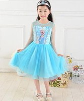 TuTu Summer Beach Frozen Dress New 2014 Custom-made Movie Cosplay dress summer girl dress Costume Princess Elsa Dress from Frozen for Children Blue