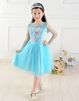 TuTu Summer Beach Frozen Girls Dress Kids Cosplay dress Costume Princess Elsa Dress Lowest Price 5 sizes can't choose sizes
