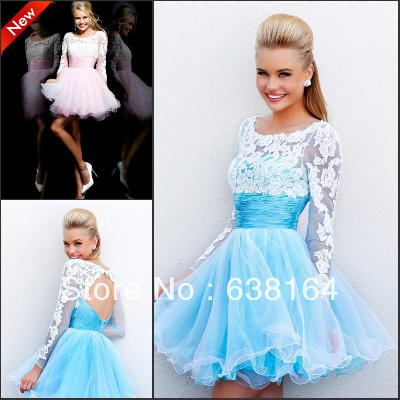 Semi Formal Scoop Long Sleeves Blue Organza A Line Mini Short Prom ...