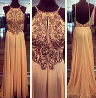 Wholesale 2014 Prom Dresses Crystal Beads Chiffon Cheap Evening dress Gowns Prom Dress