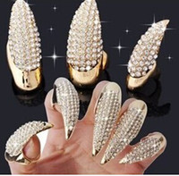 Wholesale Retro Punk Rock Cat Women Eagle Claw Jewellery Clear Rhinestones Alloy Finger Cover Nail Hook Ring Color Sizes