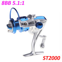 ball spin - NEW BB Ball Bearings ST2000 Left Right Interchangeable Collapsible Handle Fly Fishing Spinning Reel Blue H10659