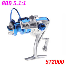 Wholesale NEW BB Ball Bearings ST2000 Left Right Interchangeable Collapsible Handle Fly Fishing Spinning Reel Blue H10659
